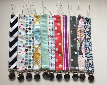 New Fabrics Pacifier or Toy Clip //  Your Choice of any in-stock fabric //  In stock READY TO SHIP