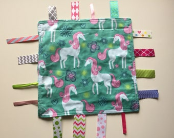 Unicorns Tag Blanket with your choice of Minky //  In Stock, READY TO SHIP