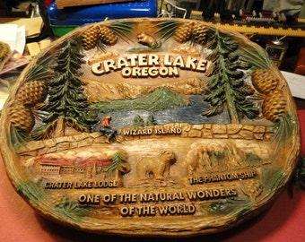 C558) Vintage Crater Lake Oregon Souvenir Bowl wall hanging