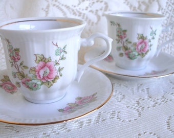 Teacups, Demitasse Cups, Polish, Walbrzych, Alice in Wonderland, Downton, Espresso Cups, Cup and Saucer, Two, Tea Set, Vintage