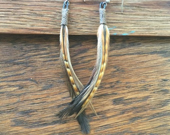 Natural Earthy Feather Earrings, Gypsy Jewelry, Bohemian Feather Earrings, Pixie Feather Earrings,  Petite Feather Earrings,