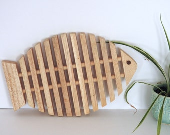 Large Mid Century Modern Blonde Wood Fish Trivet- Danish Modern Style