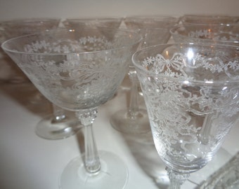11 Vintage Pieces of Etched Crystal Glassware, 9 Champagne and/or Martini Glasses and 2 Small Aperitif Cordial Glasses in Mint Condition