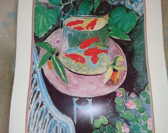 "WILD, WACKY, WONDERFUL Matisse Lithographic Print titled ""Goldfish"" (1911)  in Vintage Condition and needs framing, Great Still Life Art"