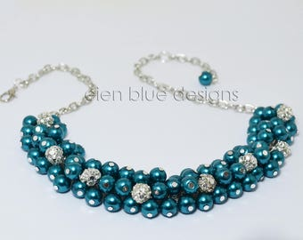 Teal Cluster Necklace, Pearl Cluster Necklace, Teal Pearl Necklace, Chunky Pearl Necklace, Teal Bridesmaid Jewelry, Teal Cluster Jewelry