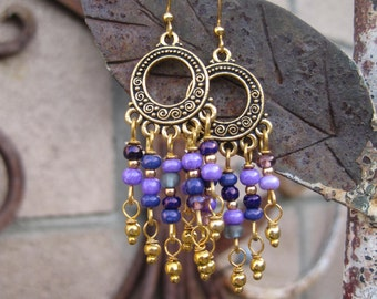 Gypsy Bohemian Purple Chandelier Earrings - Purple and Gold Boho Earrings