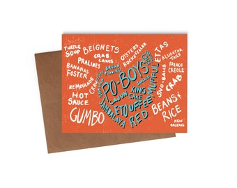 New Orleans Cuisine - Blank Card - Digitally Printed A2 Cards w/ envelope