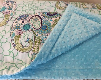"""Toddler Elephant Minky Comforter with Standard Ruffled Pillow Sham - Blue Elephant Turquoise Minky Comfortr  59"""" x 42"""""""