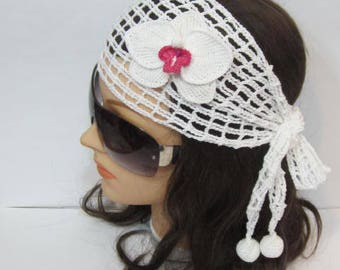 Orchids Crochet Headband, White Orchid Headband, Orchid Bridal Hair Flower, Orchid Wedding Hairband, Orchids Bridal Headband Orchid Hairband