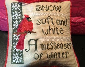 Finished Cross Stitch mini Pillow-Winter Messenger-Cardinal