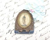 Antique Blessed Virgin Mary Glass Locket Pendant. Celluloid Lithograph, Metal Frame, Blue Glass