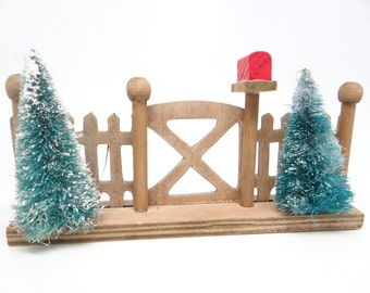 Antique Christmas Tree Fence Display, with Bottle Brush Trees and Mailbox,  Putz or Nativity
