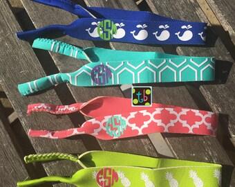 Personalized Monogram Polka dot Chevron Summer Sunglasses Preppy Strap Sunnies Whales Pineapples