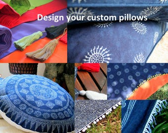Custom Made Pillows, Indigo Batik 30 Round, Floor Cushion, Choose Colorful Cotton Backing, Add Fringe Or Pom Poms Free Worldwide Shipping
