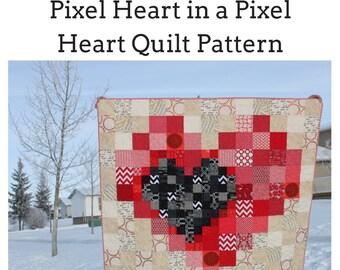 Beginner Quilt Pattern, Charm Square Quilt, Scrap Buster Quilt Pattern, Modern Quilt Pattern,  Pixel Heart in a Pixel Heart Quilt Pattern