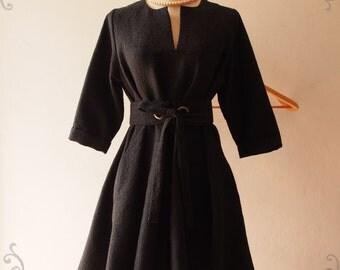 Black Winter Dress, Vintage Inspired Dress, Pockets Dress, Black Formal Dress, Fall Winter Dress, Maternity Dress -Autumn Winter Collection