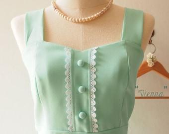 Flash Sale Mint Green Dresses, Mint Green Cocktail Graduation Dress, Mint Green Bridesmaid Dress, Mint Tea Dress Summer Dress, - VIENNA -...