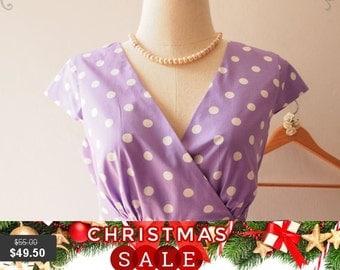 Christmas SALE Purple Polka Dot Dress Sleeve Midi Dress Vintage Tea Party Prom Purple Bridesmaid Graduation Retro Short Long Dress, XS-XL...