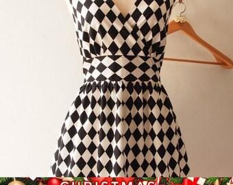 Christmas SALE Alice in WOnderland Christmas Land Black Summer Dress Tea Party Midi Black Graduation Event Print Dress - XS-XL, Custom