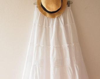 Clearance SALE Maxi Skirt White Wedding Skirt Boho Chic Bohemian Skirt Beach Long Skirt White Summer Skirt  - No.5