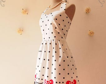 Clearance SALE SALE Hello Kitty Dress Cute Party Dress Spring Summer Dress Casual Dress Whimsical Dress Vintage Tea Party Dress -Size S