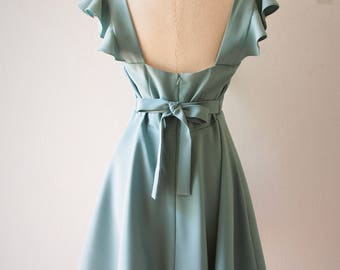 OLIVIA - Sage Green Dress Sage Green Party Dress - Back Zipper - Bridesmaid Dress Prom Party Cocktail Dress Sage Green Sundress