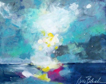 "Original Skyscape Painting, Clouds, Water, Loose Brushstrokes Colorful Artwork ""Quiet Waters"" 8x10"""