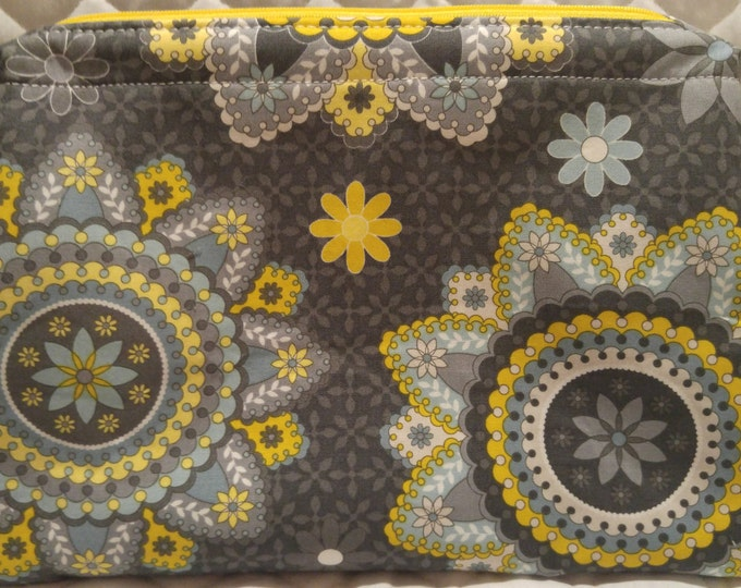 Large Retreat Bag with blue and gray flowers