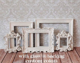 Wedding PHOTO DISPLAY - Small PICTURE FRAMEs - Shabby Chic Wedding - Nursery - Home - w/ Glass N Backing