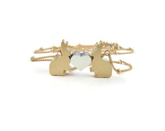 Bunny Rabbit Necklace Love Bunny Necklace Gold Rabbit Nature Woodland Jewelry Gift Idea Under 30 Delicate Simple Necklace Small Love Bunnies