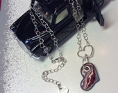 Fordite: Corvette Car Paint c.80s Y Necklace on a Great Heart Link Vintage Sterling Chain