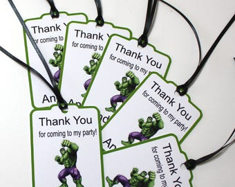 Set of 12 Thank You Party Favor Tags, Hulk Superhero Personalized Birthday Party Favors Tags Thank You Gift Tags, Super Hero Party Supplies