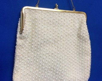 Vintage Corde-Bead Lumured Handbag Evening Purse 1960's