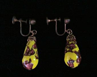 Vintage Murano Venetian Yellow Glass Drop Dangle Earrings Metallic Copper Foil Brass Screw Back Crown Top Costume Jewelry