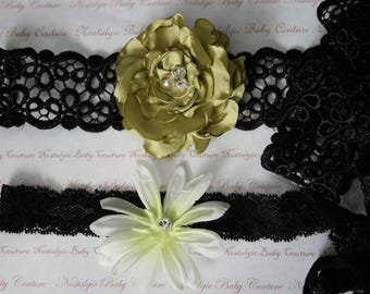 Spring Green and Black Bridal Garters\Weddings\Spanish Style Venice Lace and Satin Rose Spanish Style Weddings with Pearls and Crystals