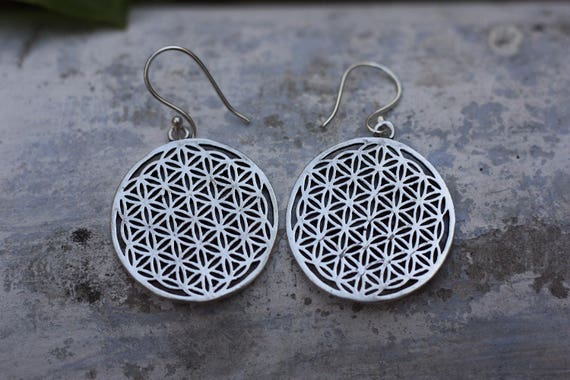 MANDALA EARRINGS - Indian earrings - Ethnic jewelry - Tribal jewelry - Antique bronze - Sacred Geometry - Boho - Flower of life