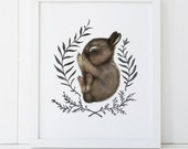 Sleeping Baby Bunny Print 5x7, Watercolor Woodland Nursery Print