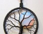 Opalite Tree of Life Pendant, Opalite Full Moon Tree of Life, Opalite Jewelry, Opalite Necklace
