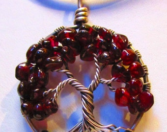 Tree of Life, January Birthstone, Garnet Gemstones set in Antiqued Fine Silver, Wire Wrapped Tree of Life Pendant