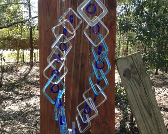 square clear, bombay lt blue, DOUBLE HELIX DNA recycled windchime, wind chime, garden decor, wind chimes, home decor, mobile