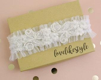 Ivory Pearl Beaded Lace Tulle Garter, Soft Ivory Tulle Garter, Off White Wedding Garter, Bridal Garter