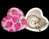 Heart Jewellery Box with Swivel Lid  Decoupage Jewellery Box  Pink Roses Trinket Box