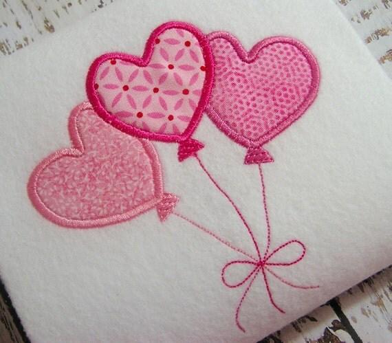 Applique balloons machine embroidery design valentine heart
