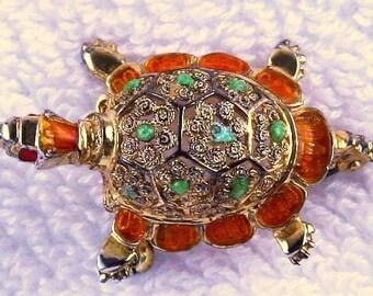 German Turtle Brooch Signed Sterling Silver Green Brown Enamel Red Eyes 2' Vintage