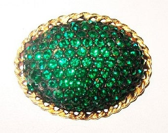 "Festive Brooch Pin Green Rhinestones Domed Oval Gold Trim 1 3/4"" Vintage Holidays"
