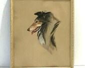 Vintage Collie Portrait Original Art Pastel Etching Chalk Drawing Sketch Dog Framed Sable White Fur ROUGH Collie Profile of Lassie Adorable