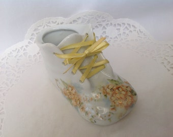 Vintage Ceramic Baby Shoe, Yellow Floral Baby Shoe