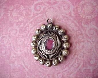 Pretty Antique Catholic Brass Reliquary Type Pendant