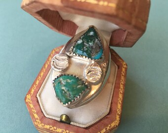 Large and Heavy Gentleman's Native American Silver and Turquoise Ring