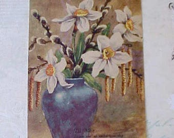 Edwardian Postcard-Blue Vase of Daffodils